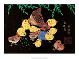 Chinese Folk Art - Mother Chicken with Baby Chicks