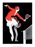 Retro Tennis Poster  Mixed Doubles Match