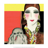 Art Deco Woman with Dog