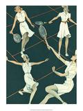 Retro Tennis Poster  Woman's Doubles Match