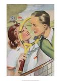 Retro Tennis Postcard  Love Match