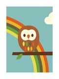 Owl and Rainbow Reproduction d'art par Dicky Bird