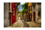 Colorful Street in Malcesine  Lombardy  Italy