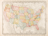 Antique Vintage Color Map United States of America, USA Reproduction d'art par Qingwa