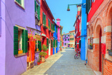 Colorful Houses on Burano Island  near Venice  Italy Charming Street Sunny Day