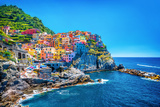 Beautiful Colorful Cityscape on the Mountains over Mediterranean Sea  Europe  Cinque Terre  Traditi