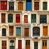Collage of Old and Colorful Doors from Paris, France. Reproduction d'art par Pink Candy