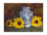 Sunflowers and Blue and White Vase