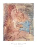 Mère et enfant Reproduction d'art par Pablo Picasso