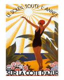 Sur la Côte d'Azur Reproduction d'art par Roger Broders