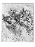 Print After a Drawing of Five Characters in a Comic Scene by Leonardo da Vinci Giclée par Bettmann