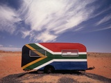Food Trailer Painted with South African Flag Motif Papier Photo par Charles O'Rear
