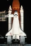 Space Shuttle Illuminated at Night