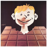Le Chocolat Reproduction d'art par Raymond Savignac