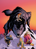 Warriors Three No4 Cover: Volstaag  Hogun and Fandral Fighting a Wolf in the Snow