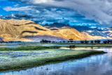 Nubra River in Nubra Valley in Himalayas