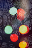 Abstract Tree with Lights and Double Exposure