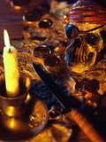Pirate Theme with Skull  Knife  Treasure Map and Gold Coins