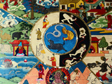 Detail of Painting at Entrance to Prayer Hall  Pemayangste Monastery  Pemayangtse  Sikkim  India