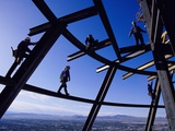 Construction Workers on Beams at the Top of the Statosphere Tower  Las Vegas  Nevada