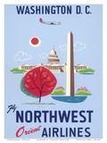 Washington  DC - United States Capitol - Washington Monument - Fly Northwest Orient Airlines