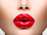 Sexy Lips Beauty Red Lip Makeup Detail Beautiful Make-Up Closeup Sensual Open Mouth Lipstick Or