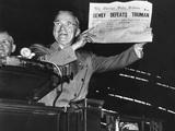 "Harry Truman Jubilantly Displaying Erroneous Chicago Daily Tribune Headline ""Dewey Defeats Truman"""
