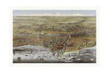 Bird's Eye View of Chicago  Illinois from Above Lake Michigan  Circa 1874  USA  America