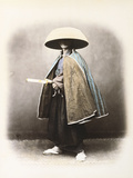 A Japanese Samurai in Traditional Costume  C1868 (Hand Tinted Albumen Print)