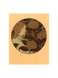 Roundel Portrait of a Girl  French  1841 1917  Lithograph in Green  Black  and Gold