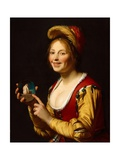 Smiling Girl  a Courtesan  Holding an Obscene Image  1625