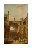 Architectural Scene with Women Washing Clothes at a Pool  1798