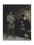 The Waiting Room  1850  by Honore Daumier (1808-1879)  Oil on Paper  30X24 Cm France  19th Century