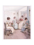 Miss Fanny Is Reading Aloud from the Library Book While Others Sew or Knit