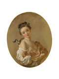 Young Girl Holding Two Puppies  C1770
