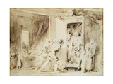 The Surprised Lover  1755 (Brown Pencil over Chalk Preliminary Drawing)