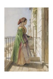 A Greek Girl Standing on a Balcony  C1840 (W/C and Gouache over Graphite on Paper)