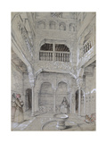 Entrance to the Baths at the Alhambra (Graphite and White Bodycolour with Brief Touches of Watercol