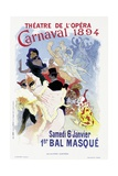 Poster Advertising a Masked Ball and Carnival  at the Theatre De L'Opera  1894