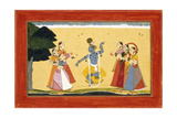 Krishna Dancing before the Cowgirls as They Clap their Hands  C1730-1735 (W/C on Red Paper)