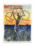 Vintage French Poster of a Goddess with a Bicycle  C1898