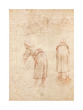 Washerwomen on the Banks of the Tiber and Studies of the Chateau Saint-Ange (Red Chalk on Paper)
