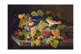 Still Life of Melon  Plums  Grapes  Peaches  Cherries  Strawberries Etc on Stone Ledges