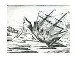 Sailing Ship Stranded on Iceberg from 'India Orientalis' 1598