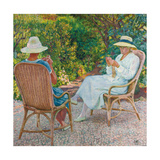 Maria and Elisabeth Van Rysselberghe Knitting in the Garden  C1912