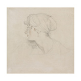 Mrs Jens Wolff (Black Chalk  Touched with Red Chalk on Thin Laid White Paper  Laid on Japan Paper)