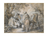 Milkmaid with Two Cows (Black Chalk and Stump Heightened with White