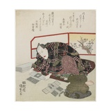 Ichikawa Danjuro VII Preparing New Year's Gifts  1829-1830