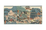Dragon God Rewarding Hidesato with Three Gifts  April 1858