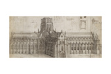 Old St Paul's Cathedral from the North-East (Pen and Brown Ink and Grey Wash over Graphite